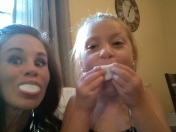 The flower girl and I pregaming with marshmallows